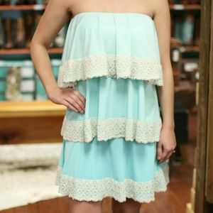Mint Ombre Tiered Dress with Crochet Lace Trim